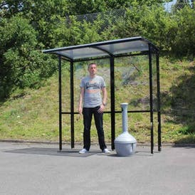 Corfe Open Fronted Freestanding Smoking Shelter - Clear Roof