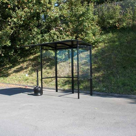 Corfe Open Fronted Smoking Shelter - Aluminium Roof