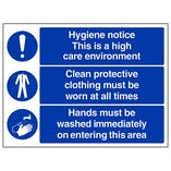 Hygiene Notice This Is A High Care Environment - Large Landscape