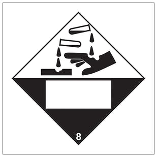 Corrosive 8 UN Substance Numbering Hazard Label