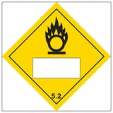 Oxidizer 5.2 UN Substance Numbering Hazard Label