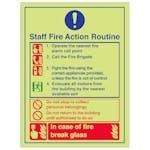 Staff Fire Action Routine Break Glass - Portrait