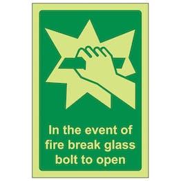 GITD In The Event Of Fire Break Glass Bolt To Open - Portrait