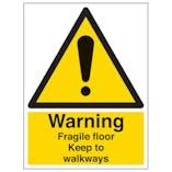 Warning Fragile Floor Keep To Walkways - Portrait