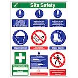 Multi Hazard Site Safety Notice 9 Points 3 Column - Portrait
