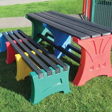 Multicoloured Play Table & Bench Set