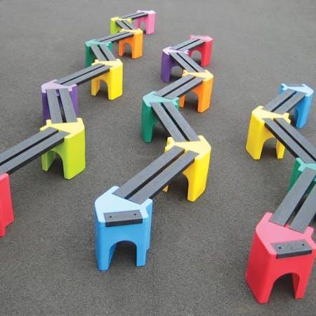 Multicoloured Zigzag Bench