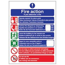 Multi-Lingual Fire Action Call Fire Brigade - Portrait