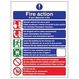 Multi-Lingual Fire Action 6 Points - Portrait