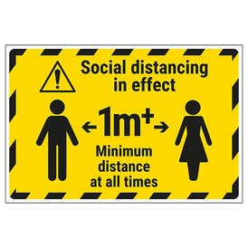 Social Distancing In Effect - 1m - Temporary Floor Sticker