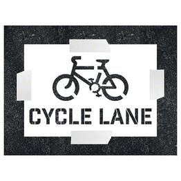 Cycle Lane With Icon Stencil