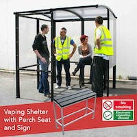 4-Sided Value Vaping Shelter - Polycarbonate Roof