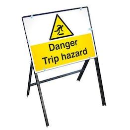 Danger Trip Hazard Sign with Stanchion Frame