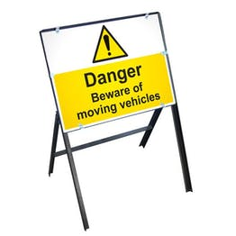 Danger Moving Vehicles Sign with Stanchion Frame