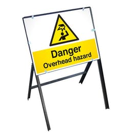 Danger Overhead Hazard Sign with Stanchion Frame