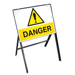 Danger Sign with Stanchion Frame