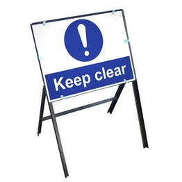 Keep Clear Sign with Stanchion Frame