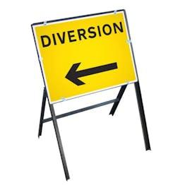 Diversion Left Sign with Stanchion Frame
