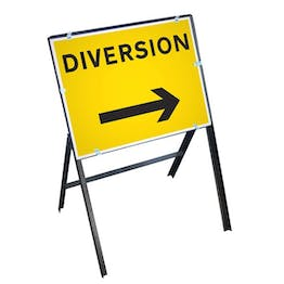 Diversion Right Sign with Stanchion Frame