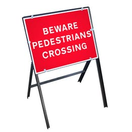 Beware Pedestrians Crossing Sign with Stanchion Frame