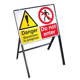 Danger Demolition Sign with Stanchion Frame