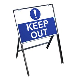 Keep Out Sign with Stanchion Frame