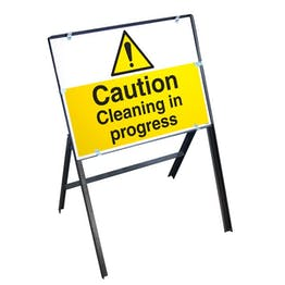 Caution Cleaning In Progress Sign Stanchion Frame